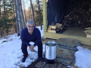 We bought a turkey fryer to boil off the sap. Problem was, we didn't read the label where it said that the flame turns off every 15 minutes for 'safety.'