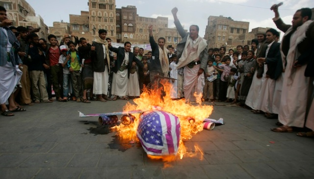 Drone burned in Effigy in Yemen (Photo: Reuters, via the Atlantic).